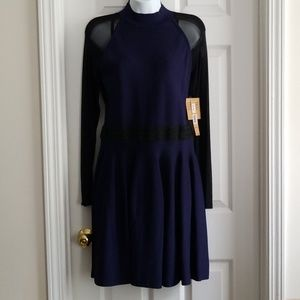 Rachel Roy Navy/Black Sheer Sleeve Dress